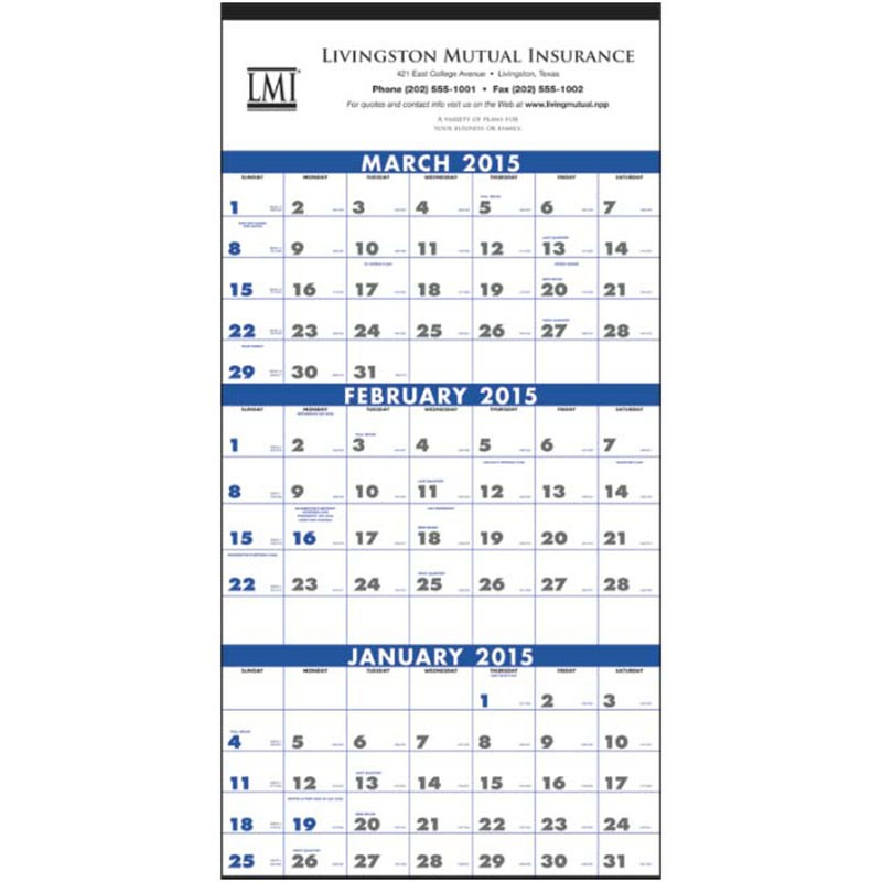 Large 3 Month Wall Calendar With Your Logo For As Low As $1 76