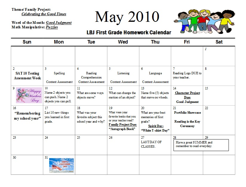 Lyndon Baines Johnson Elementary School   First Grade May Homework