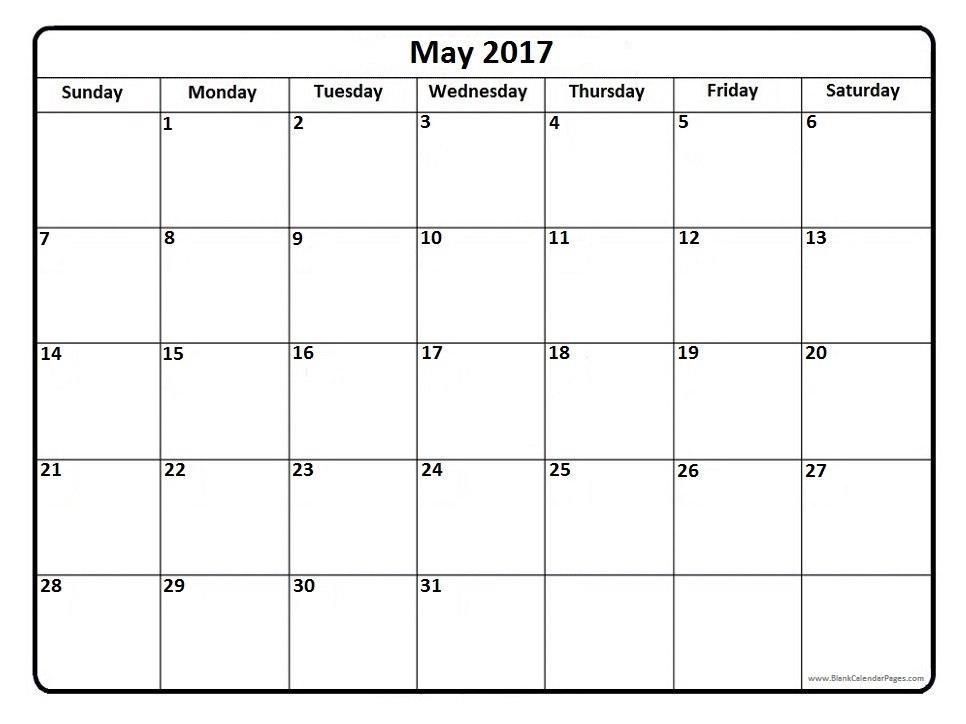 May 2017 Calendar Month – Free Printable