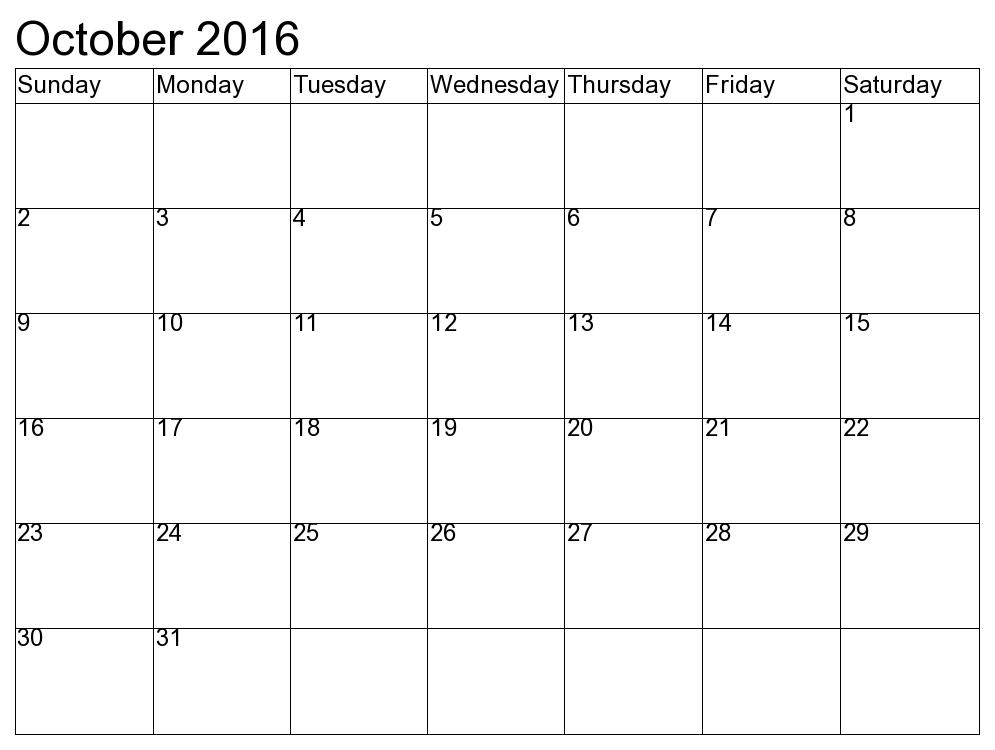 October Calendar For Kids