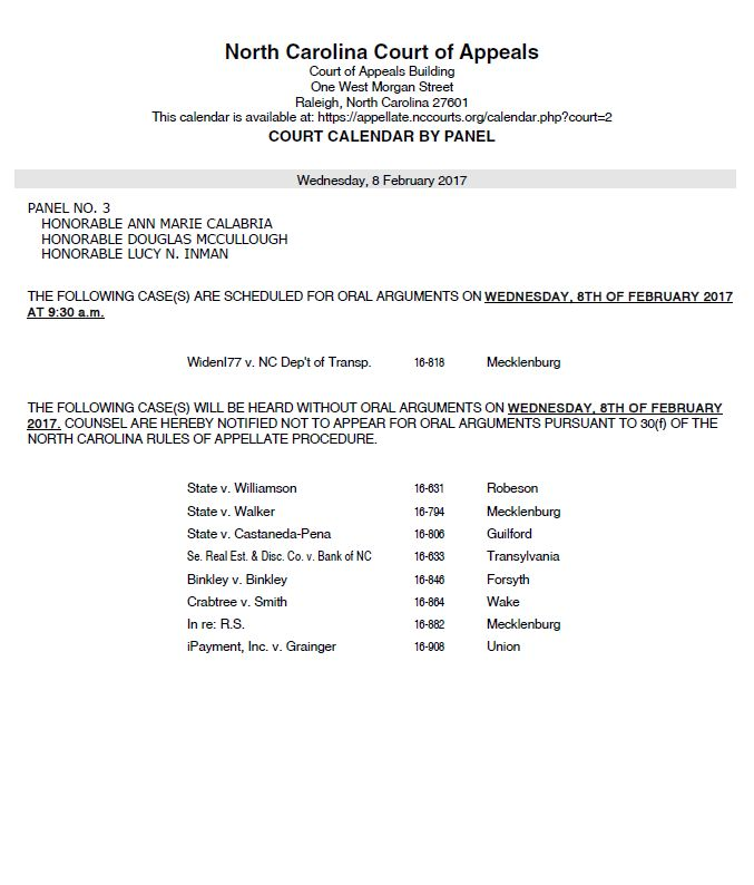 Oral Arguments To Be Heard Feb 8 In Raleigh
