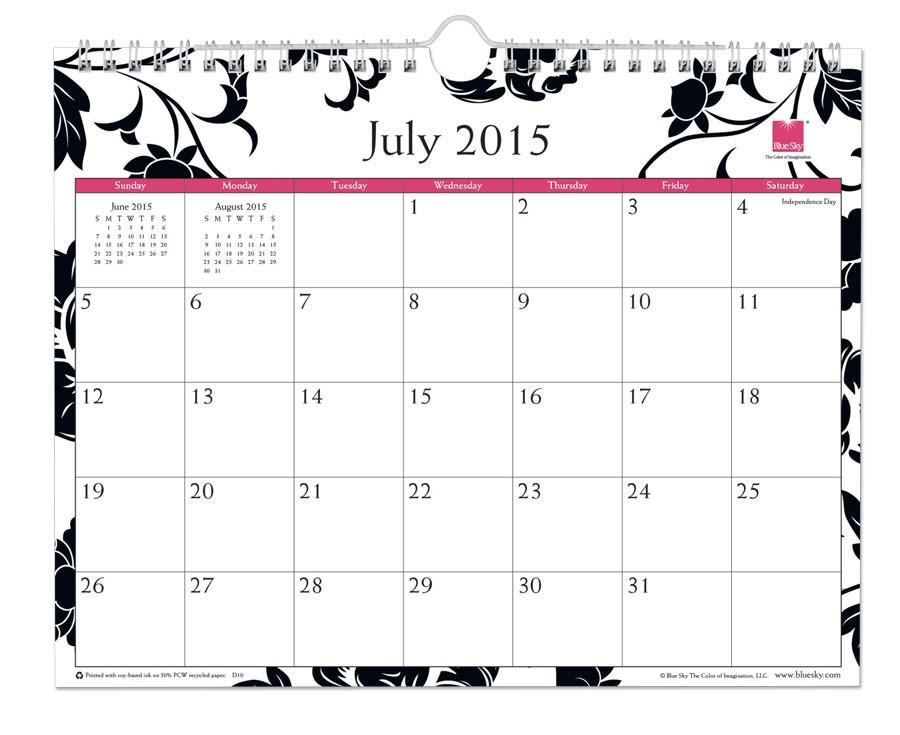 2015 calendar by month