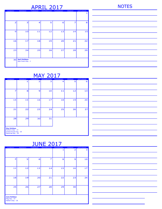 April May June 3 Months Printable Calendar 2017
