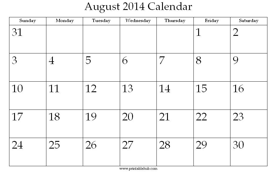 Month Of August Calendar – Calendar Template 2019