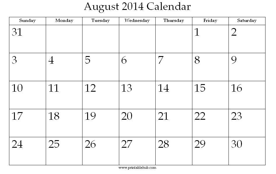 August 2014 Printable Calendar Â« Printable Hub