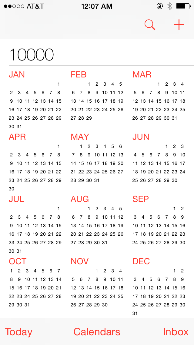 Iphone Calendar Goes Up To At Least The Year 10,000   Screenshots