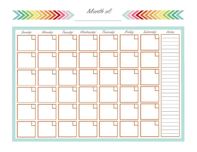 Monthly Calendar Template Cute – Printable Calendar 2017