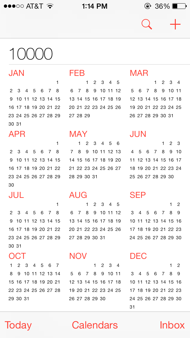 My Iphone Calendar Goes To The Year 10,000, And Keeps Going