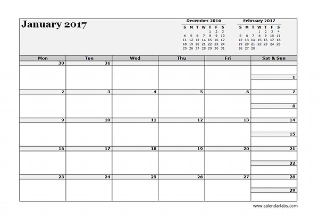 Printable 3 Month Calendar 2017