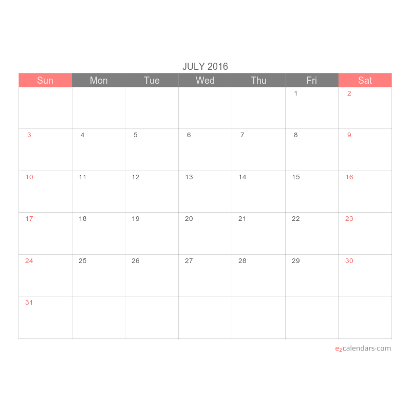 Simple Printable One Month Calendar Template