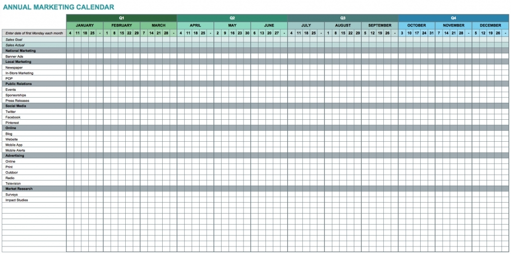 9 Free Marketing Calendar Templates For Excel Smartsheet Mark Your Calendar Templates