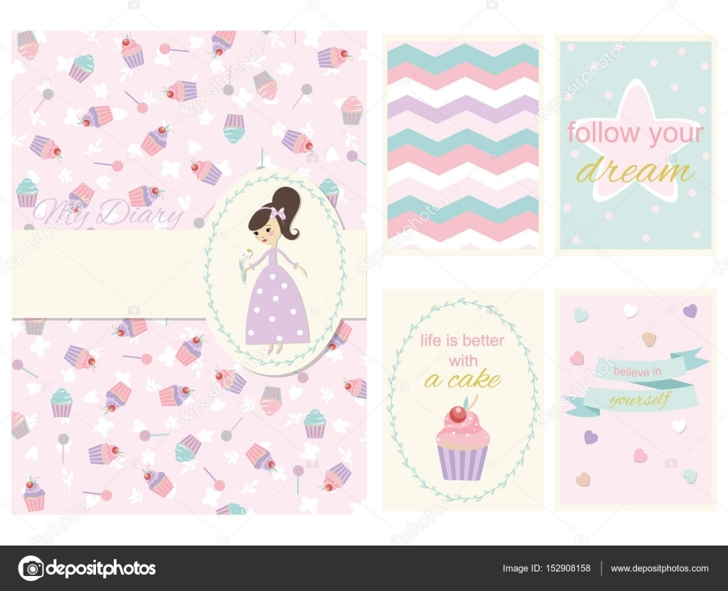 Girls Diary Cover And Page Template Stock Vector Yulia337 Girl Diary Template