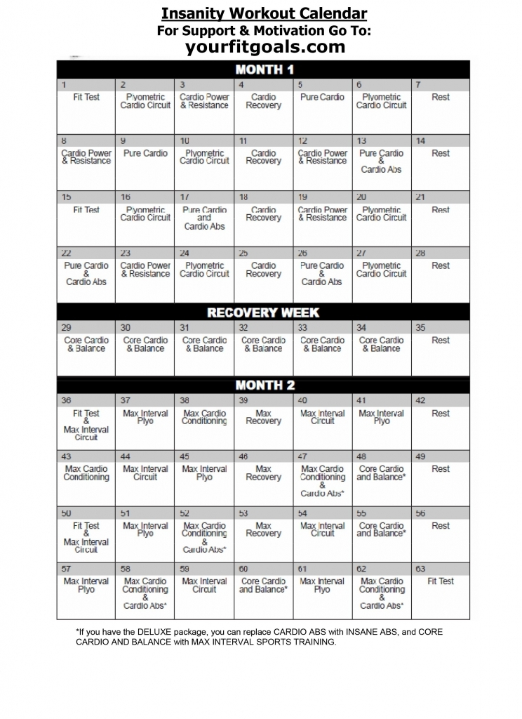 Insanity Workout Calendar Doing This After Vegas Cmon Shaun Insanity Deluxe Calendar