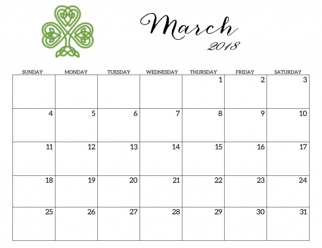 March 2018 Editable Blank Calendar Calendar 2018 Free Printable Editable March Calendars