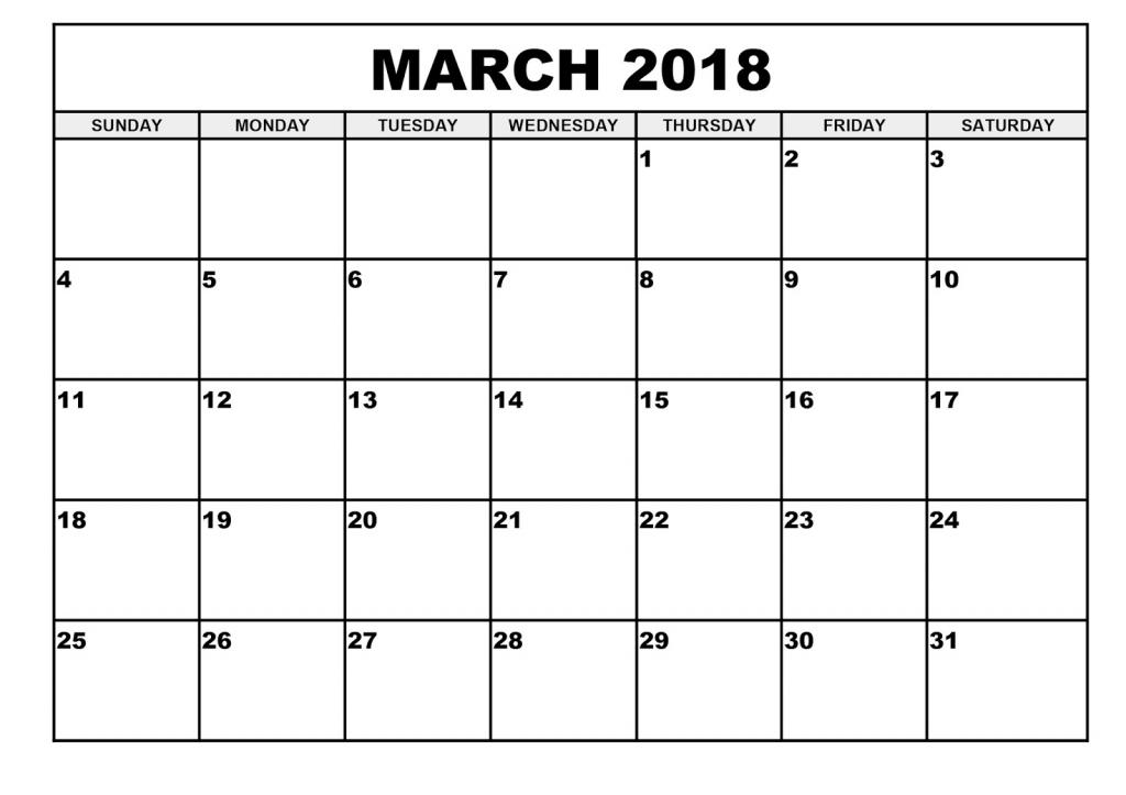 March 2018 Editable Calendar  Free Printable Editable March Calendars