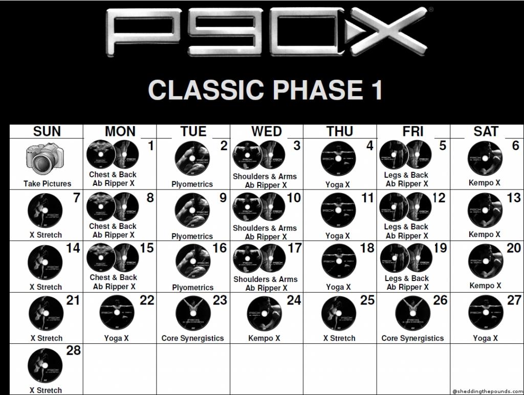 P90x Workout Schedule – Calendar Template 2019