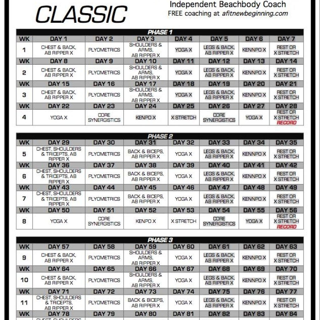 P90x Workout Schedule Classic Fit O Matic P90x Workout Schedule
