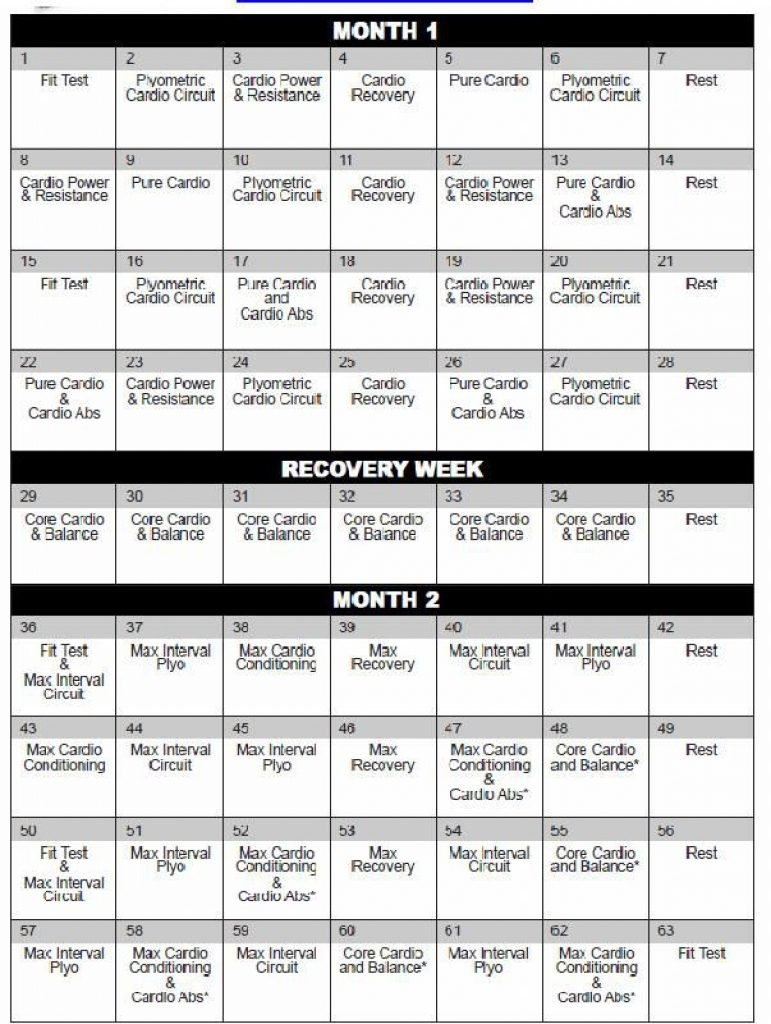 Printable Insanity Calendar Printable Calendar Templates 2018 Insanity Deluxe Calendar