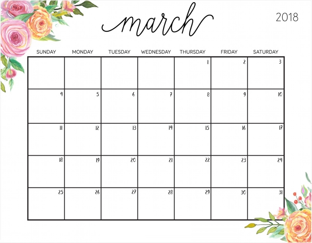 Printable March 2018 Template Calendar 2018 Free Printable Editable March Calendars
