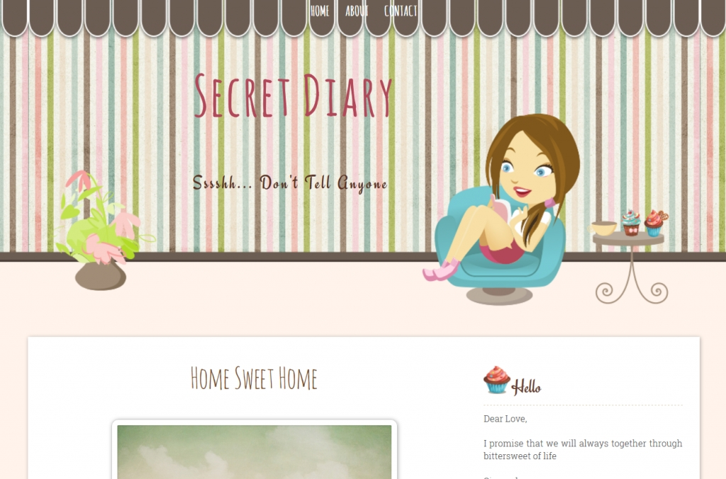 Secret Diary Free Premium Cute Blogger Template Ipietoon Cute Blog Girl Diary Template