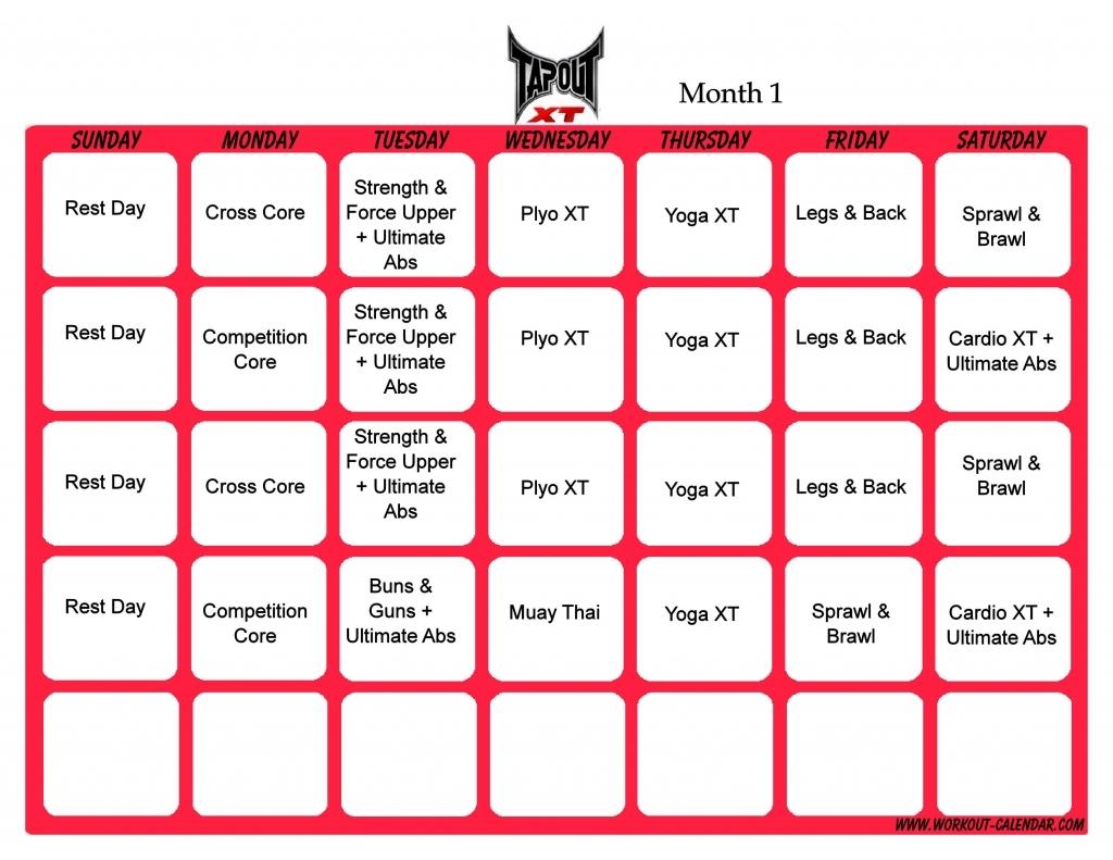 Tapout Schedule Tapout Xt Schedule Month 1 Pdf Tapout Xt Schedule Tapout Xt Calendar