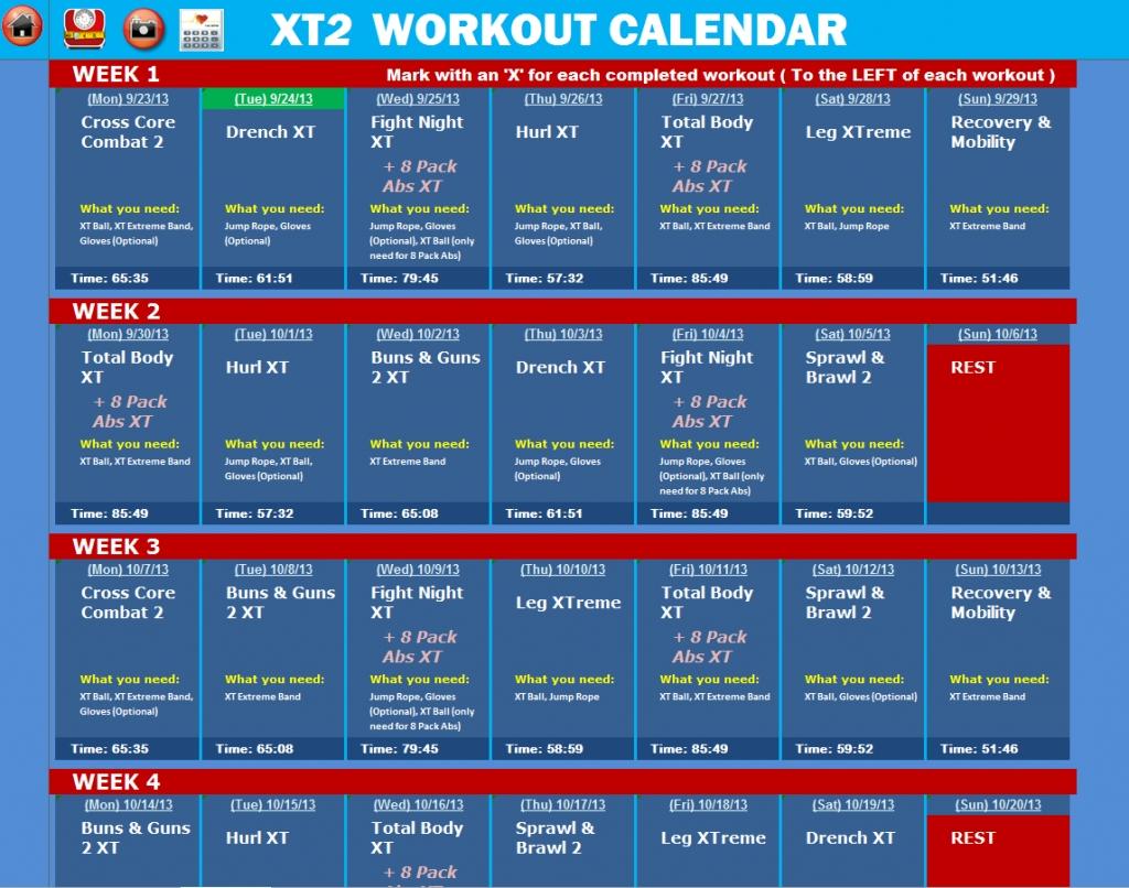 Tapout Xt2 Excel Workout Tools Tapout Xt Calendar