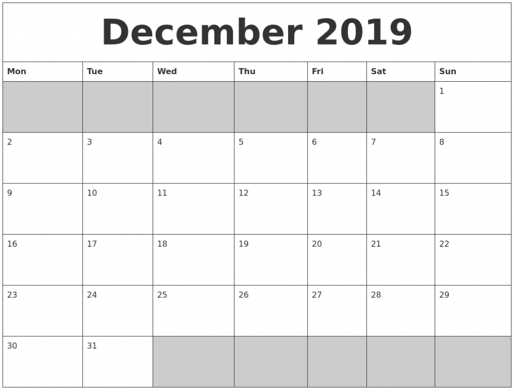 2019 monthly calendar printable templates january to december images of a calendar january through december