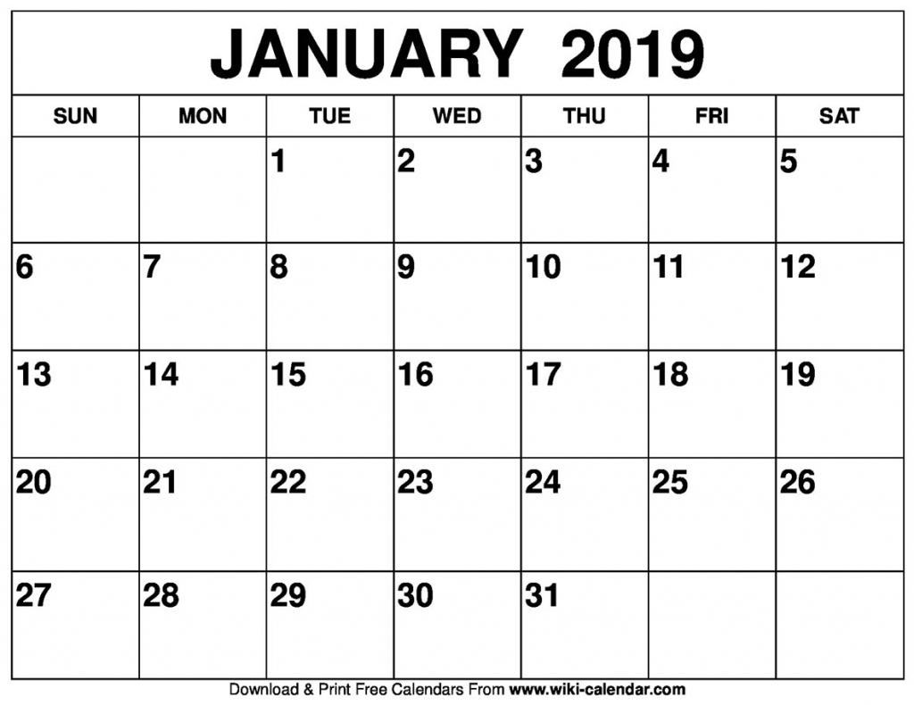 blank january 2019 calendar printable picture of a january calender