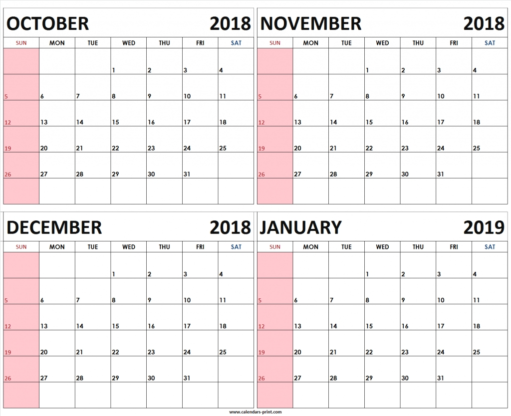 four monthly october november december 2018 january 2019 calendar images of a calendar january through december