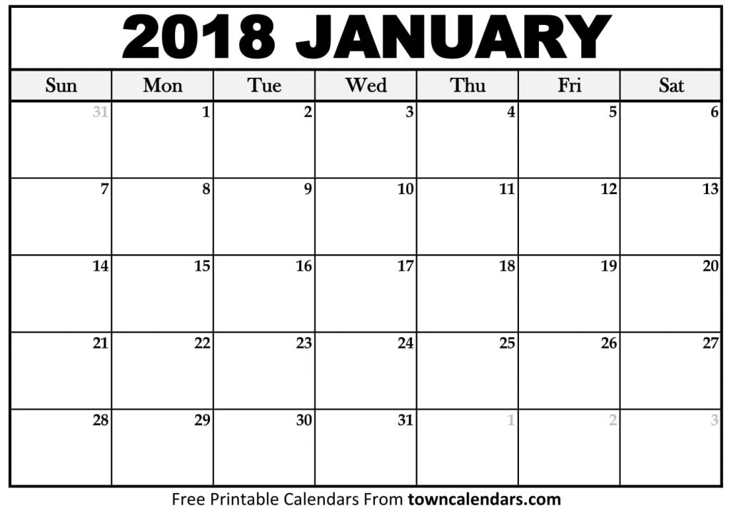 Printable January 2018 Calendar Towncalendars Picture Of A January Calender