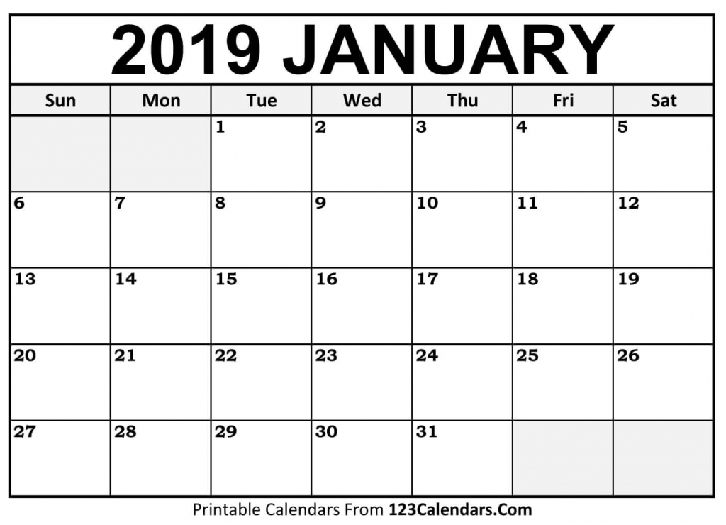 printable january 2019 calendar templates 123calendars picture of a january calender 1