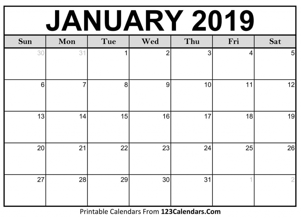 Printable January 2019 Calendar Templates 123calendars Picture Of A January Calender
