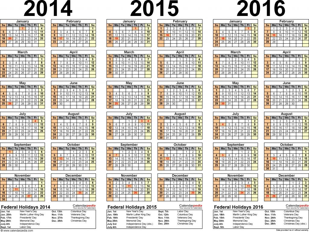 2014 2016 three year calendar free printable pdf templates printable calendar multi years