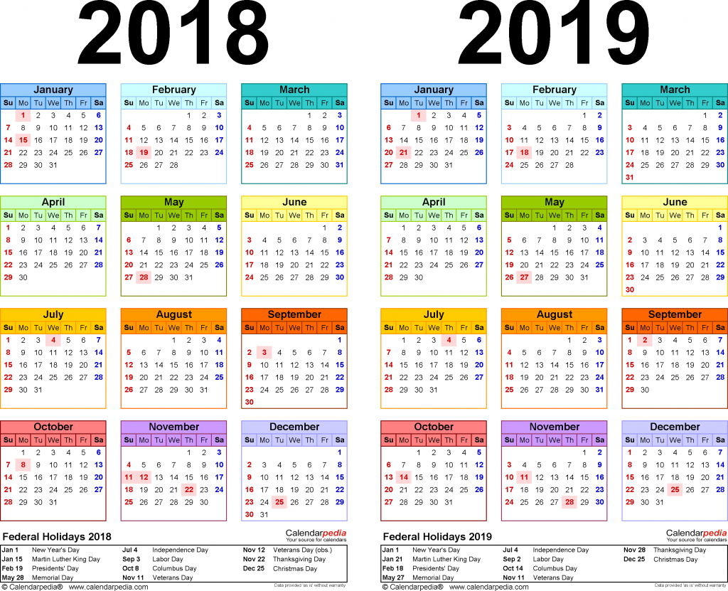 2018 2019 two year calendar free printable excel templates five year calendar view