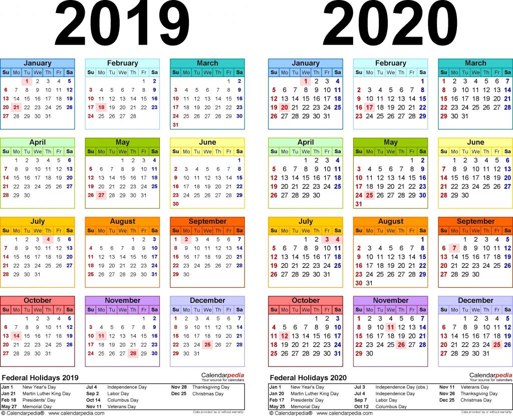 2019 2020 calendar free printable two year pdf calendars 11 x 17 printable desk calendar 2020