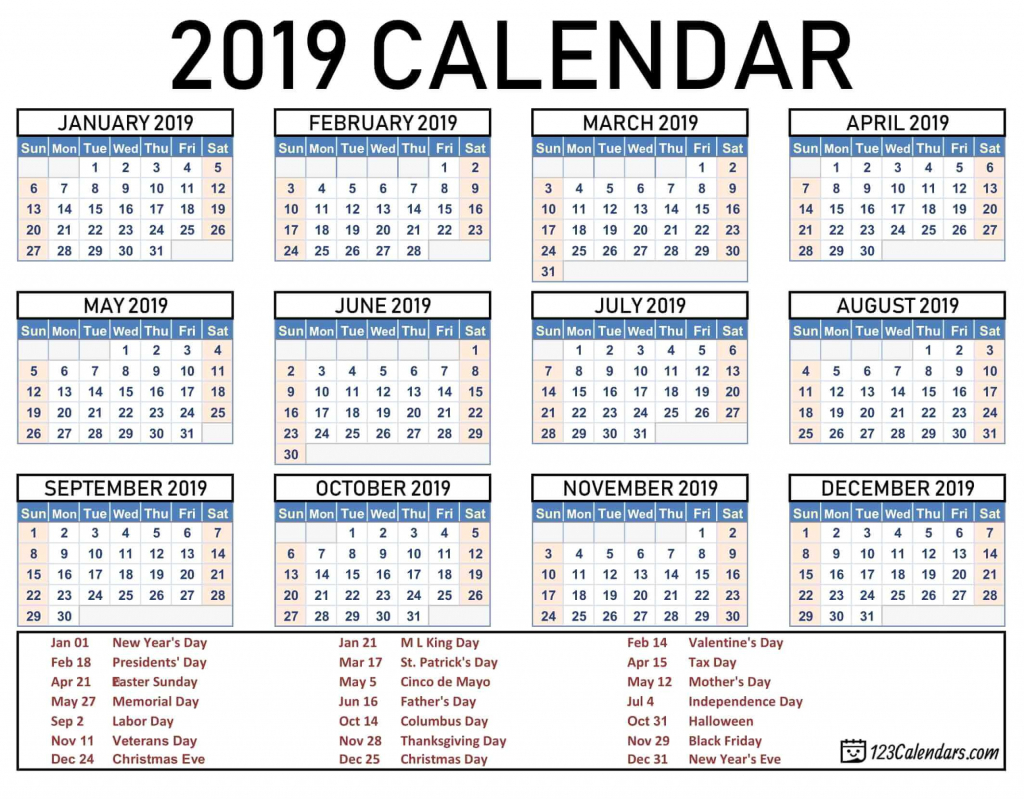 2019 2020 school year calendar template year 2019 printable holiday calendar next 5 years