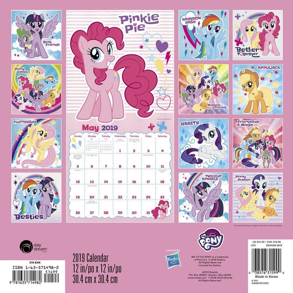 2019 my little pony 2019 wall calendar kids tv acco brands my little pony wall calendar