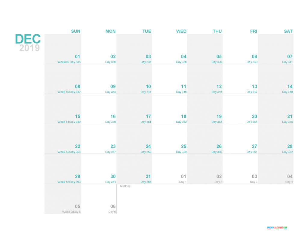 2019 printable monthly calendar template with day count calendar with the day count