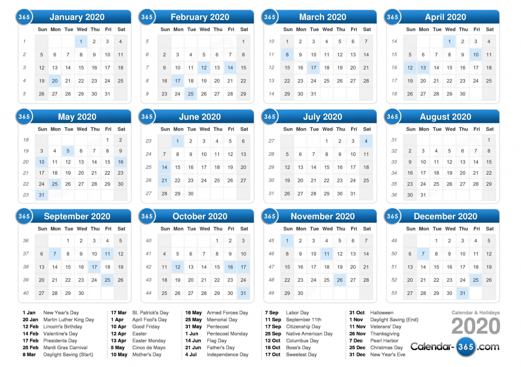 2020 Calendar Calendar Day Count 2020