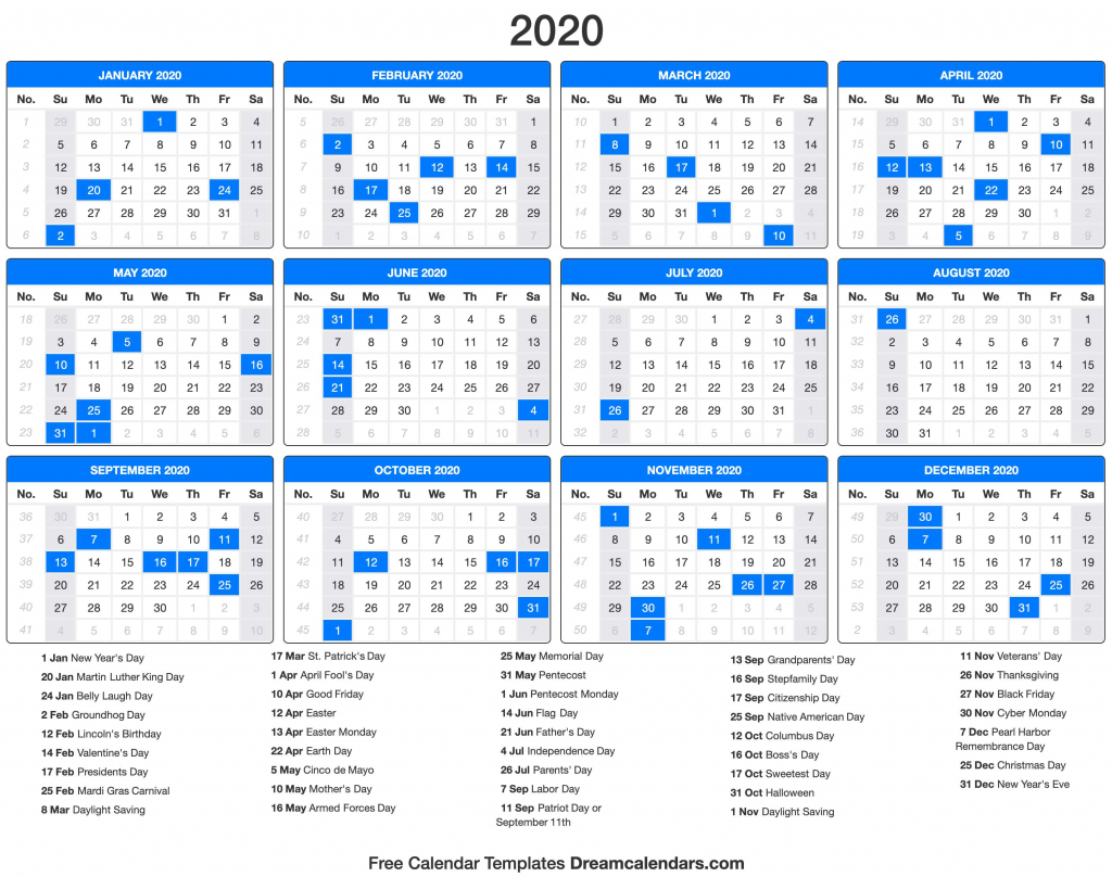 2020 calendar holiday calendar next 5 years