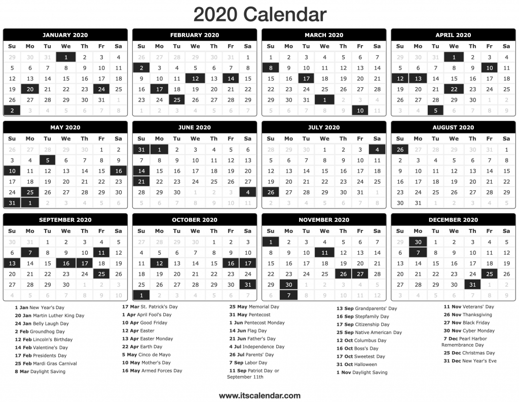 2020 calendar printable 2020 calendar special food day calendar 2020