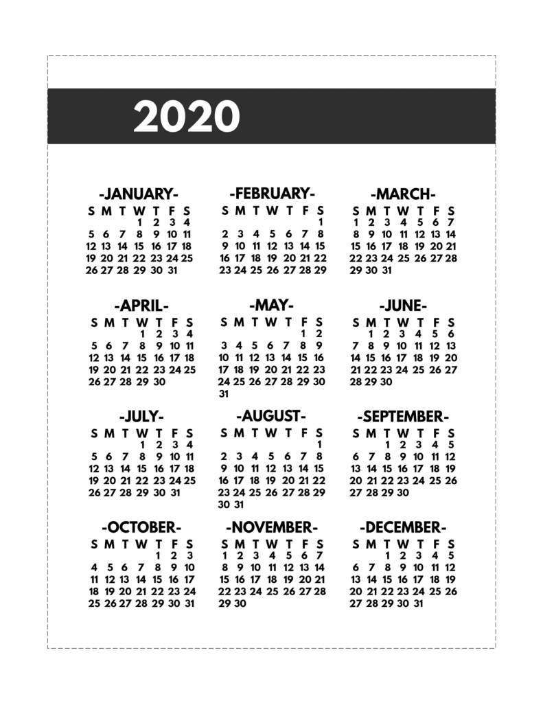 2020 printable one page year at a glance calendar paper 8 5 x 11 printable calendars 2020 1