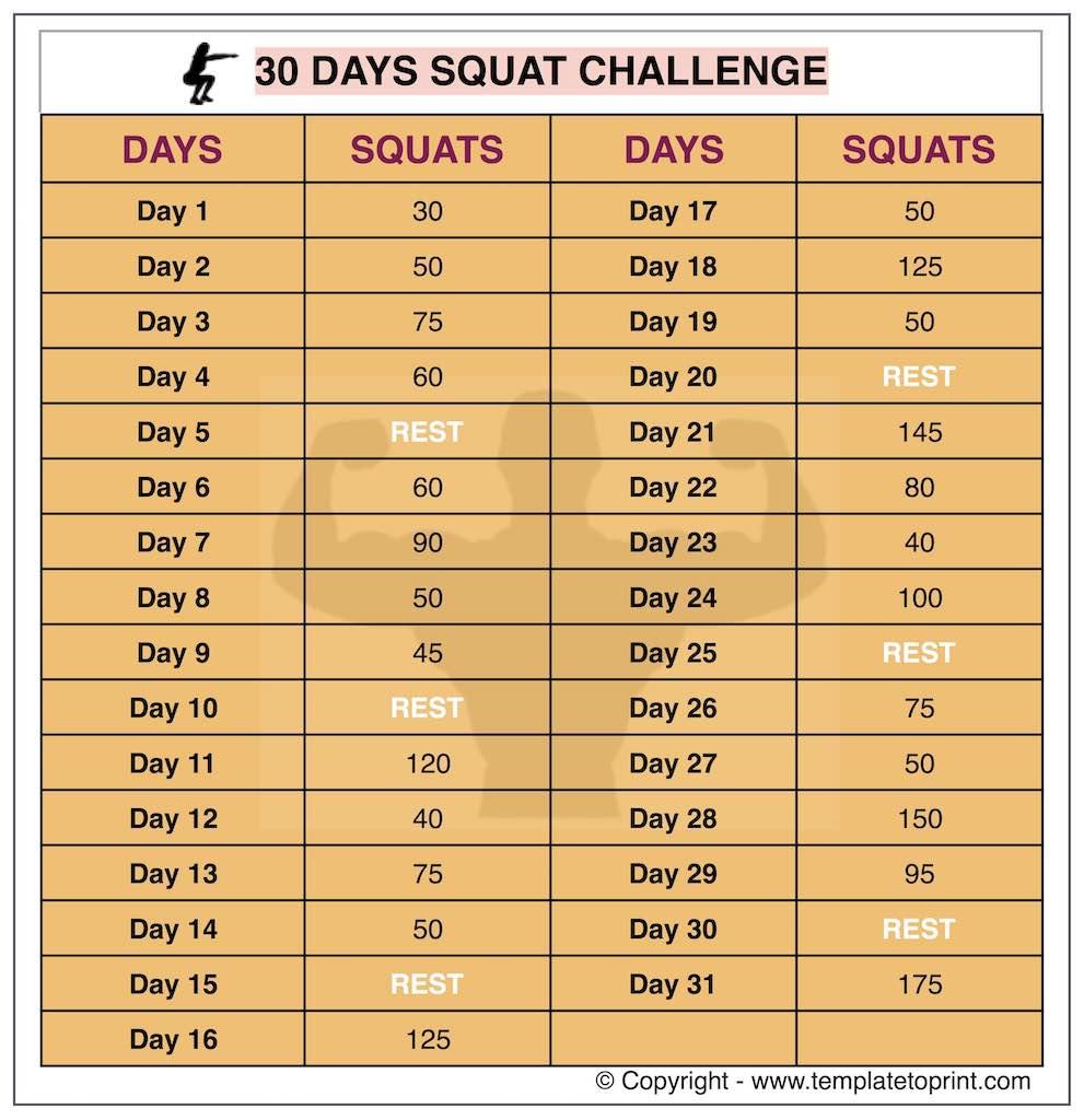 30 day squat challenge printable calendar squat workout at printable squat callange