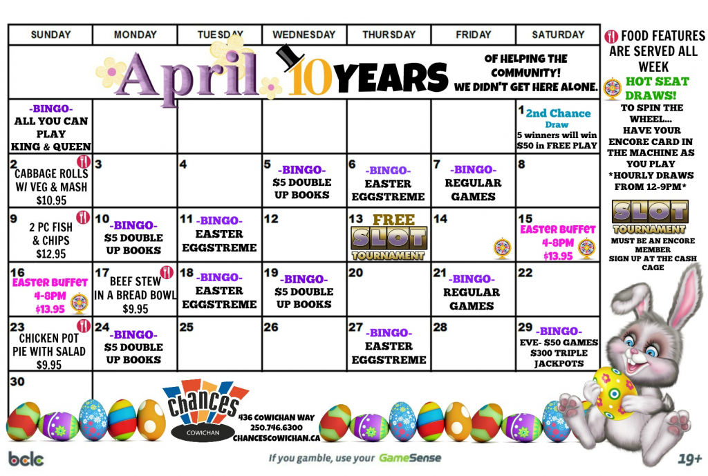 april calendar chances cowichan calendar for 10years