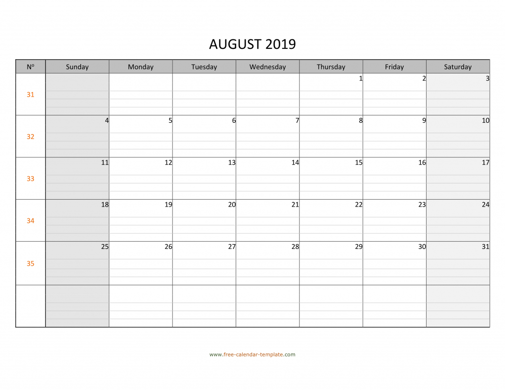 august 2019 calendar free printable with grid lines designed calendar to print for free with lines