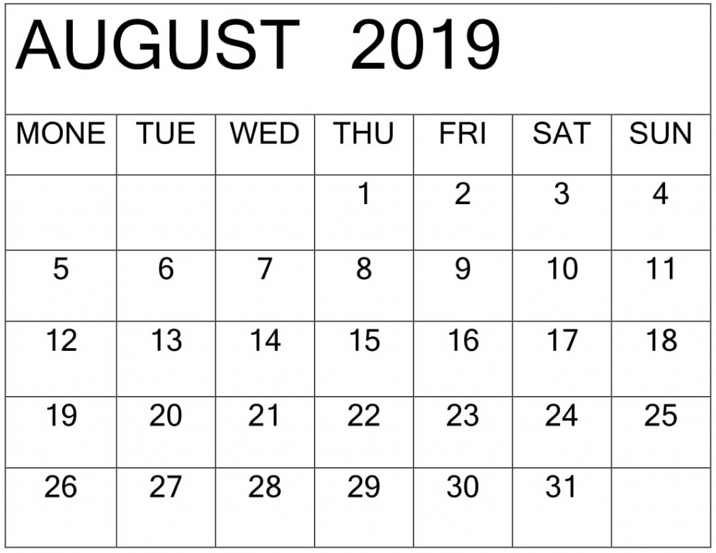 August 2019 Printable Calendar Template Pages Free Latest Aol Aug Calendar