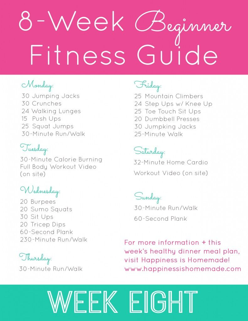 beginner fitness jumpstart week 8 happiness is homemade 5day a weekeight period class schedule printable