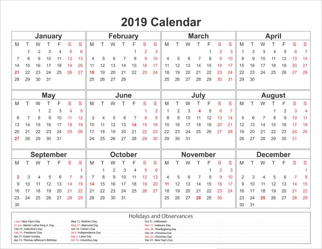 blank printable calendar 2019 with holidays 5 x 8 free blank printable calendars