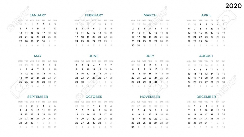 calendar infographic table chart presentation chart business 2020 date and time calendar