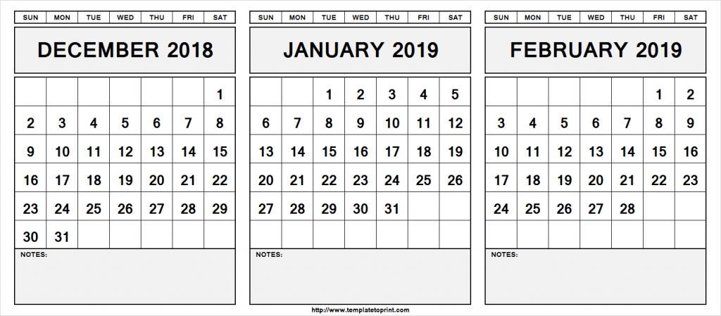 december 2018 january 2019 february 2019 calendar december to january caleneder